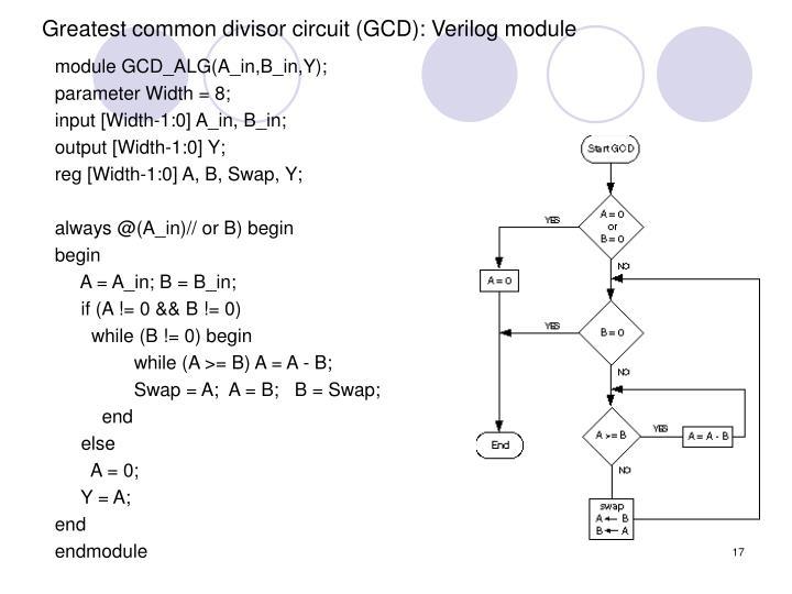 Greatest common divisor circuit (GCD): Verilog module
