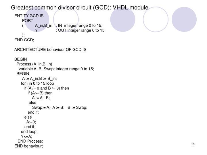 Greatest common divisor circuit (GCD): VHDL module