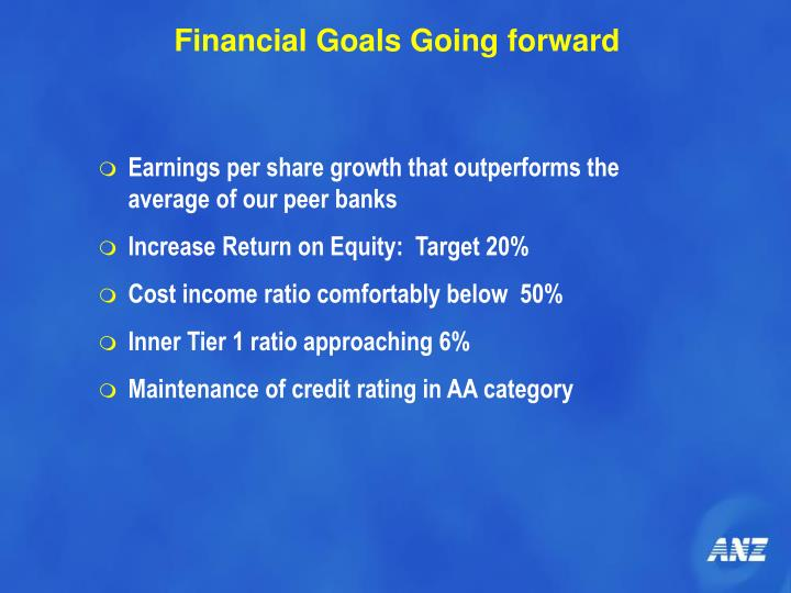 Financial Goals Going forward