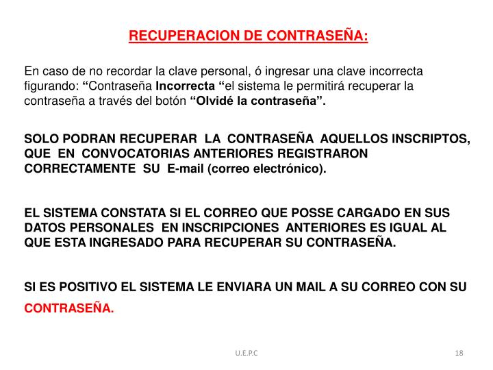 RECUPERACION DE CONTRASEÑA:
