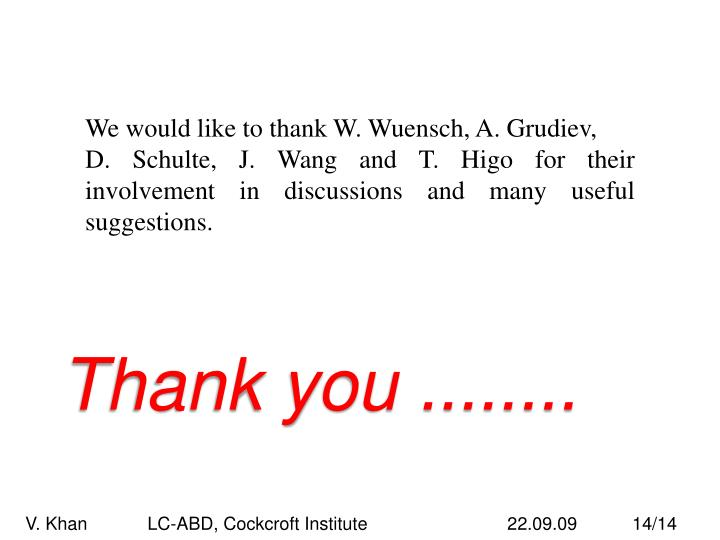 We would like to thank W. Wuensch, A. Grudiev,