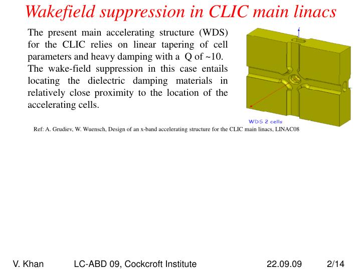 Wakefield suppression in clic main linacs