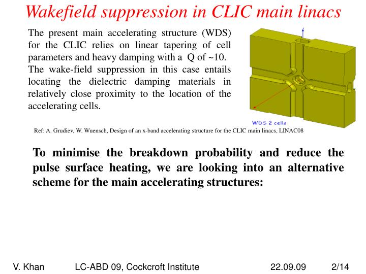 Wakefield suppression in clic main linacs1