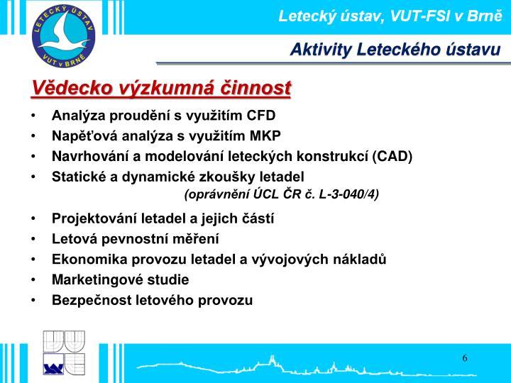 Aktivity Leteckého ústavu