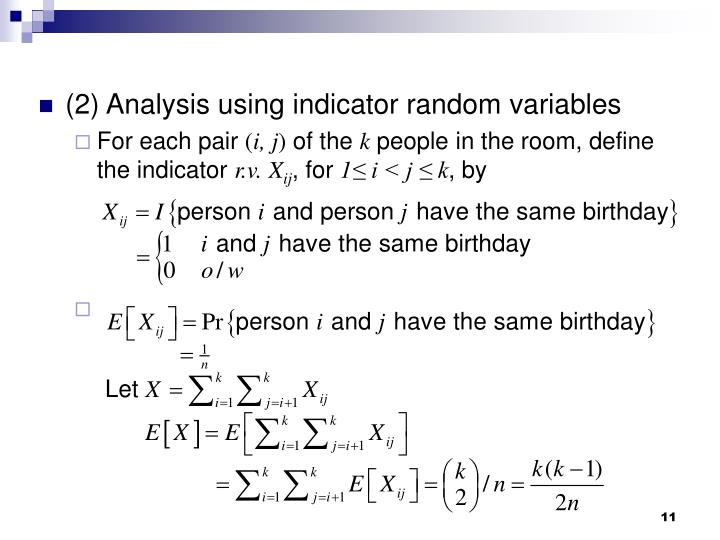(2) Analysis using indicator random variables