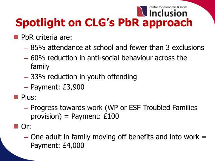 Spotlight on CLG's PbR approach