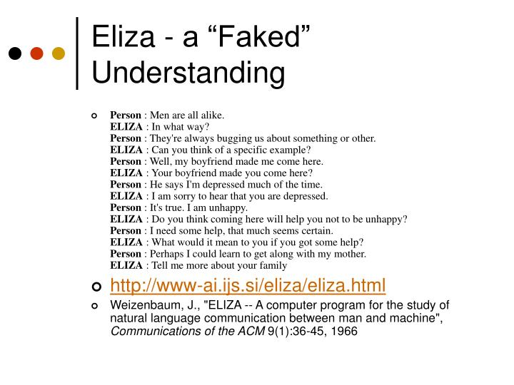 "Eliza - a ""Faked"" Understanding"