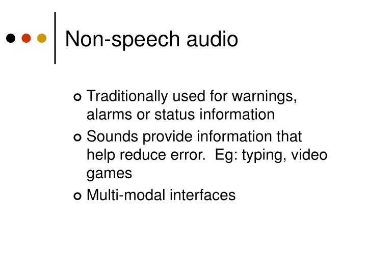 Non-speech audio