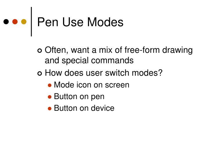 Pen Use Modes