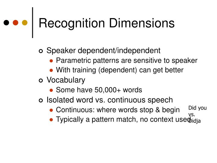 Recognition Dimensions