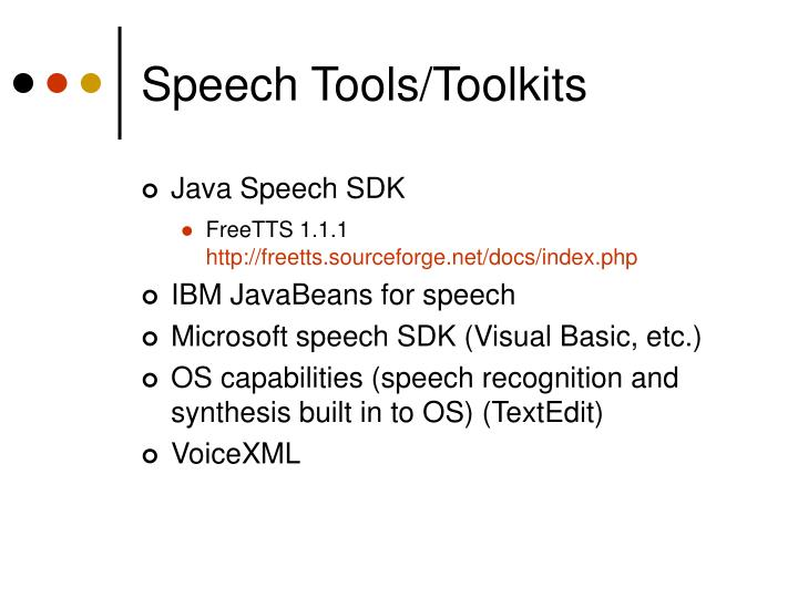 Speech Tools/Toolkits