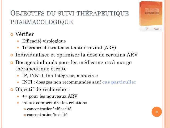 Objectifs du suivi thérapeutique pharmacologique