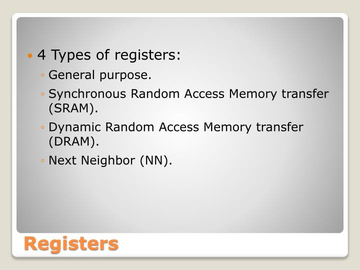 4 Types of registers: