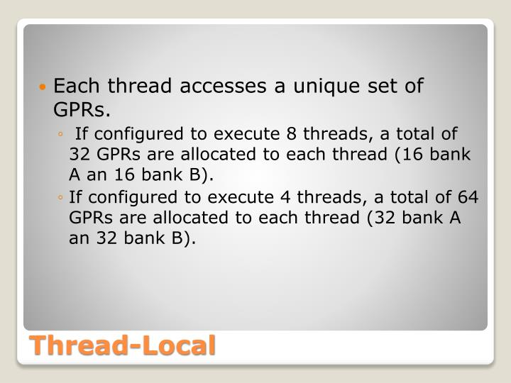 Each thread accesses a unique set of GPRs.