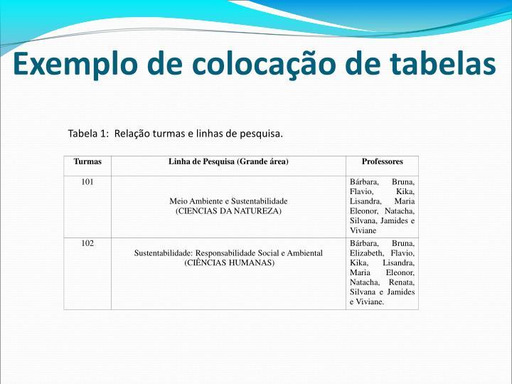Exemplo de colocação de tabelas