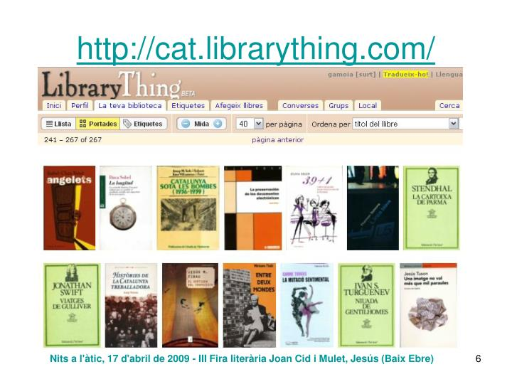 http://cat.librarything.com/