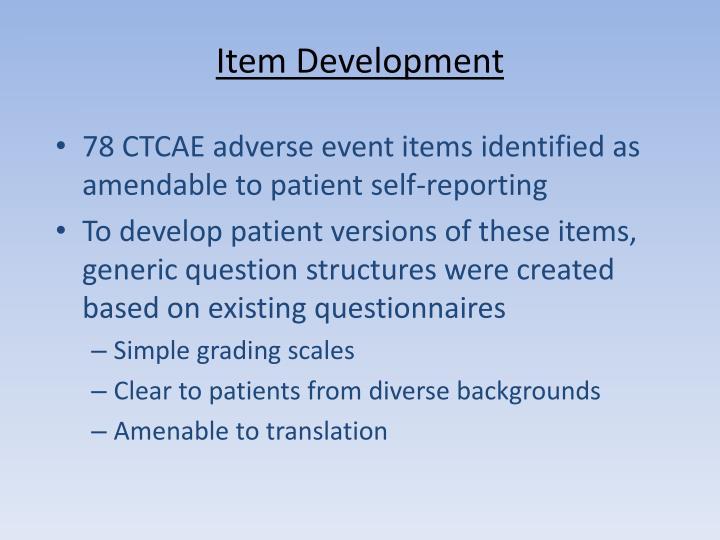 Item Development