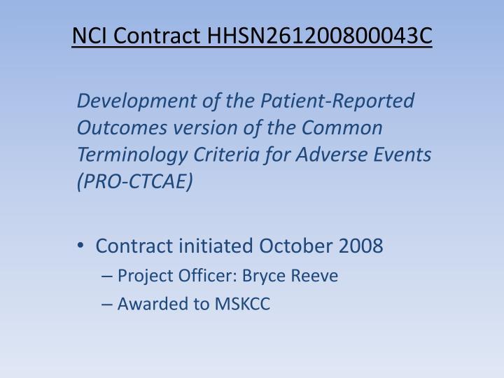 NCI Contract HHSN261200800043C