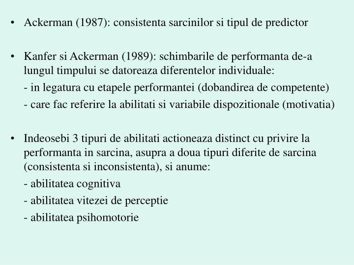 Ackerman (1987): consistenta sarcinilor si tipul de predictor