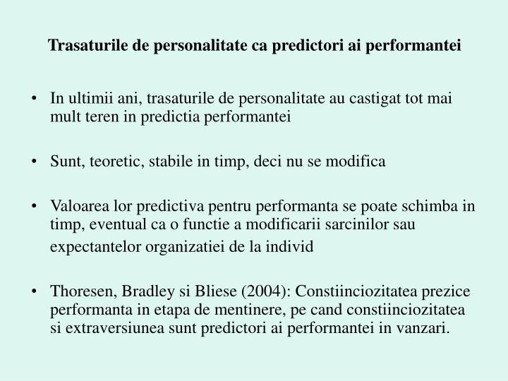 Trasaturile de personalitate ca predictori ai performantei