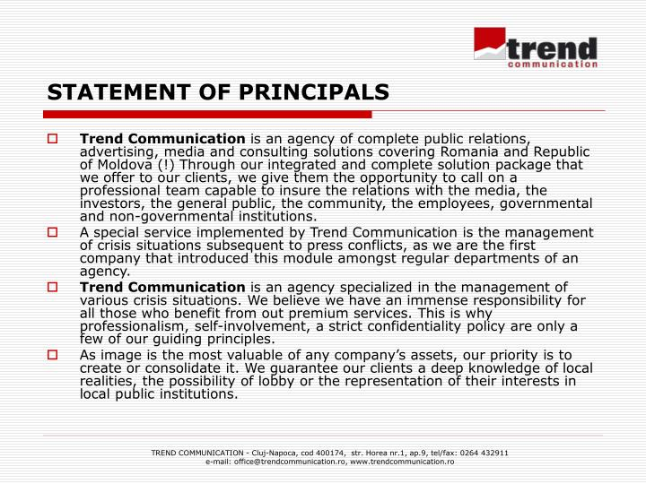 STATEMENT OF PRINCIPALS