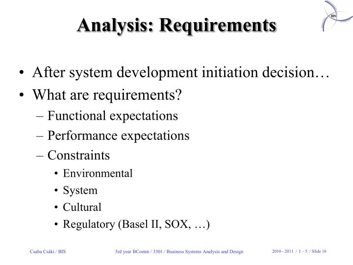 Analysis: Requirements