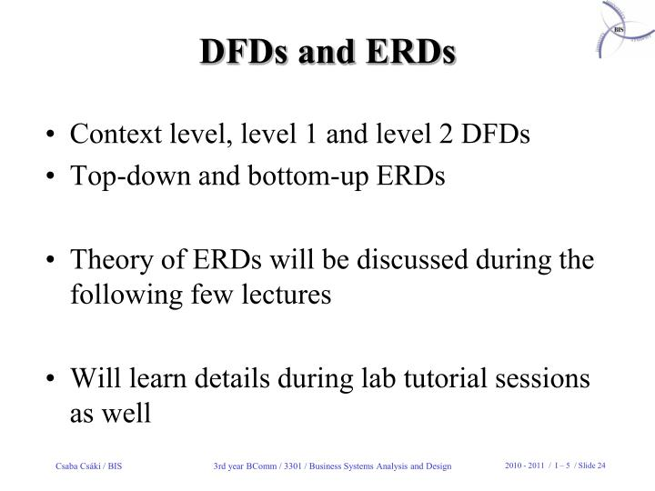 DFDs and ERDs