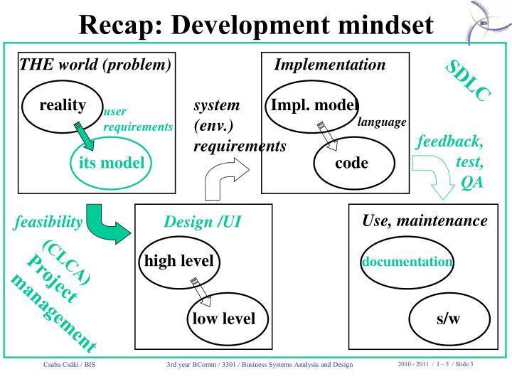 Recap: Development mindset