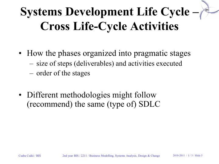 Systems Development Life Cycle –