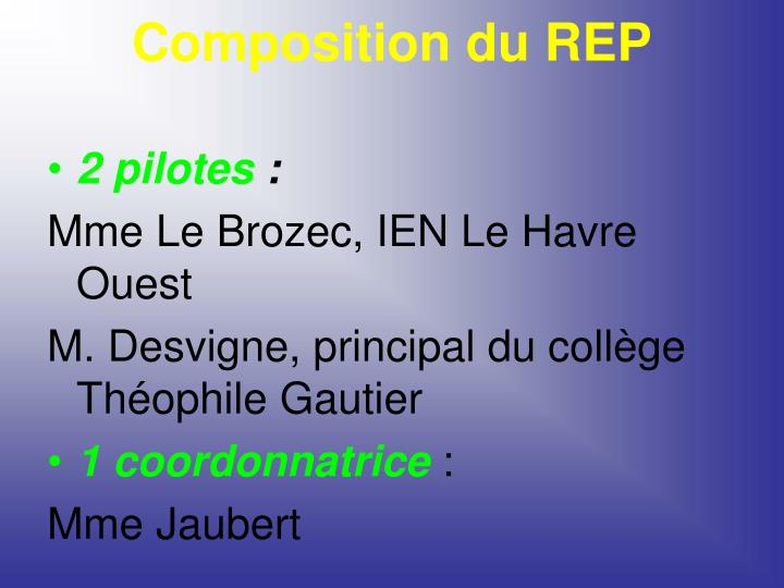 Composition du REP