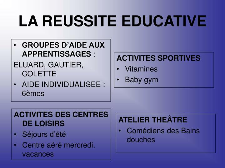 LA REUSSITE EDUCATIVE