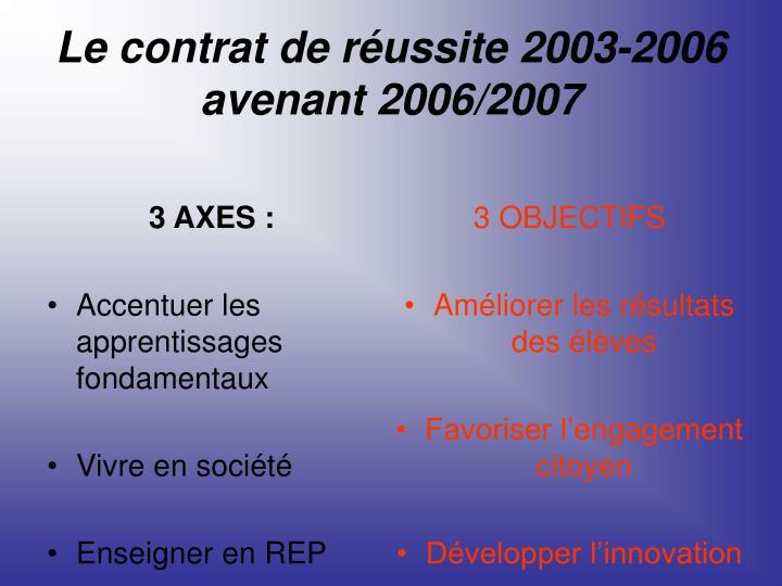 Le contrat de réussite 2003-2006