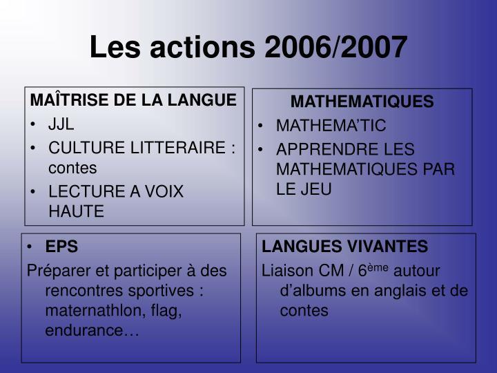 Les actions 2006/2007