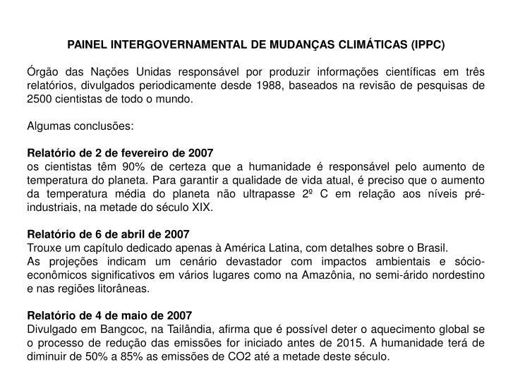 PAINEL INTERGOVERNAMENTAL DE MUDANÇAS CLIMÁTICAS (IPPC)