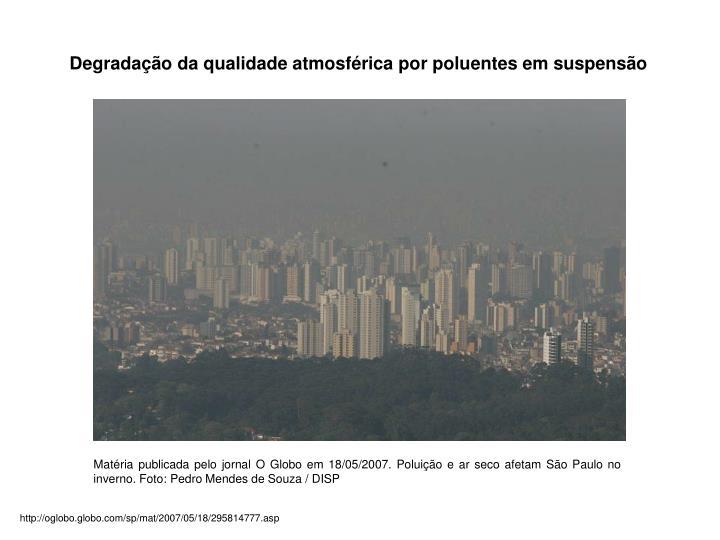 Degradação da qualidade atmosférica por poluentes em suspensão