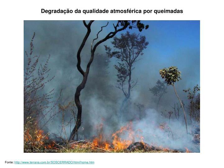 Degradação da qualidade atmosférica por queimadas
