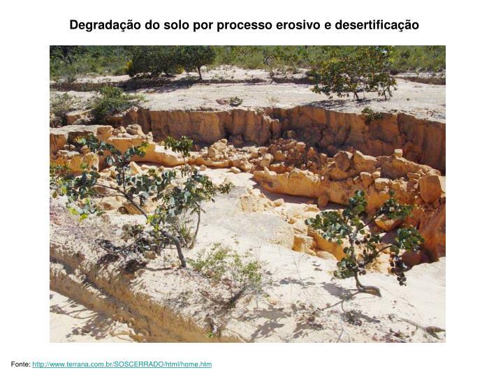 Degradação do solo por processo erosivo