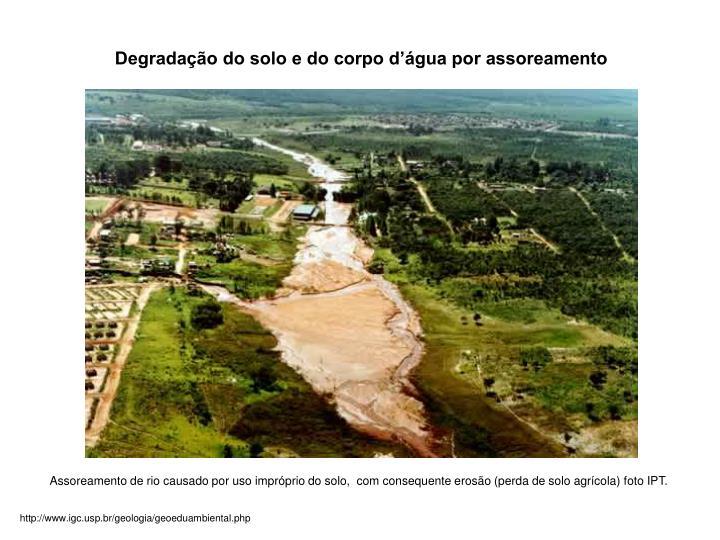 Degradação do solo e do corpo d'água por assoreamento