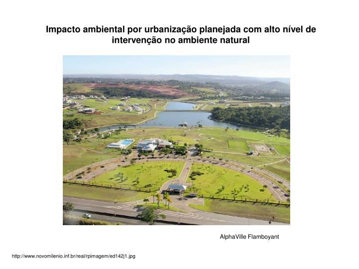 Impacto ambiental por urbanização planejada com alto nível de intervenção no ambiente natural