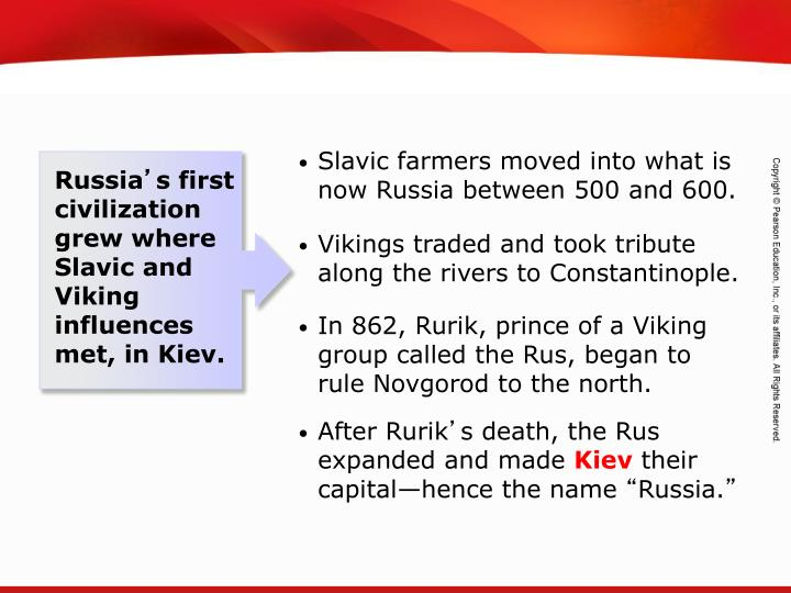 Slavic farmers moved into what is now Russia between 500 and 600.