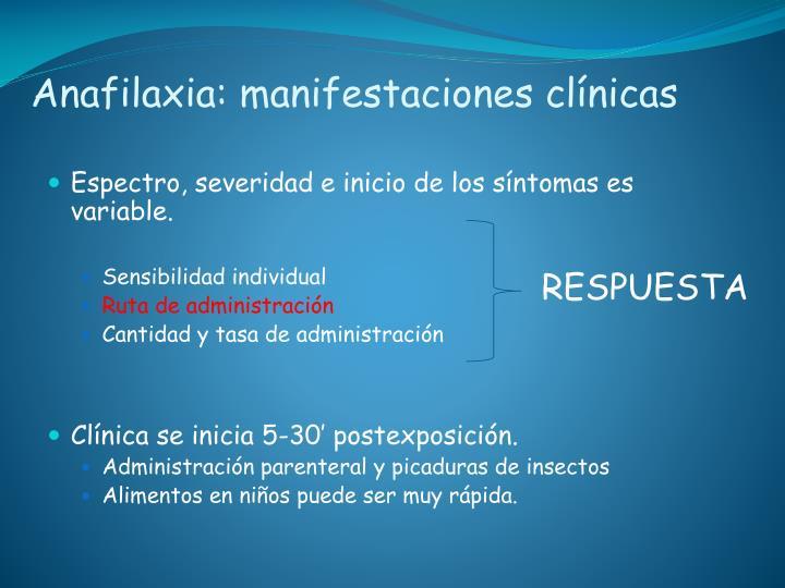 Anafilaxia: manifestaciones clínicas