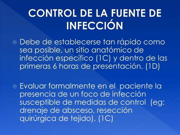 CONTROL DE LA FUENTE DE INFECCIÓN