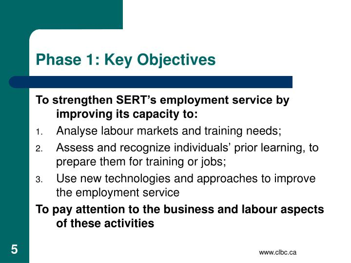 Phase 1: Key Objectives