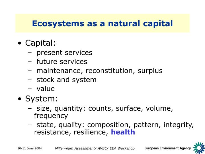 Ecosystems as a natural capital