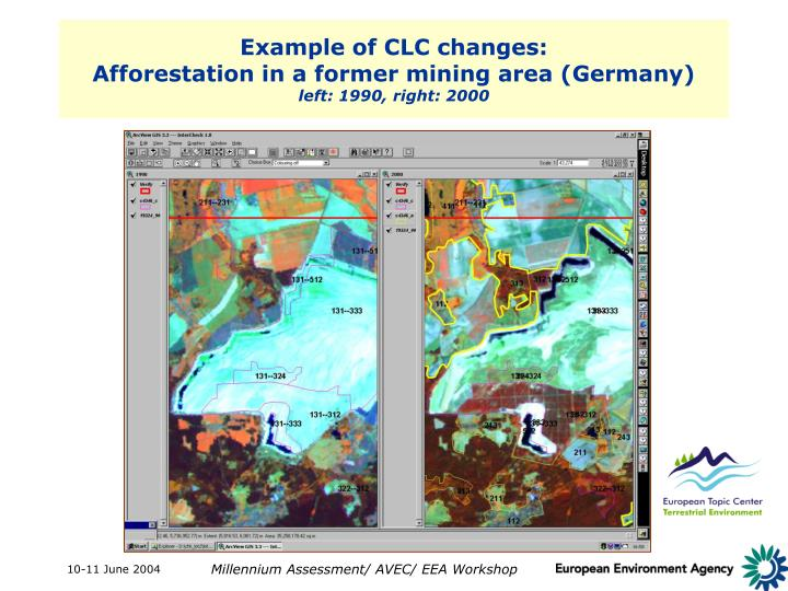 Example of CLC changes:
