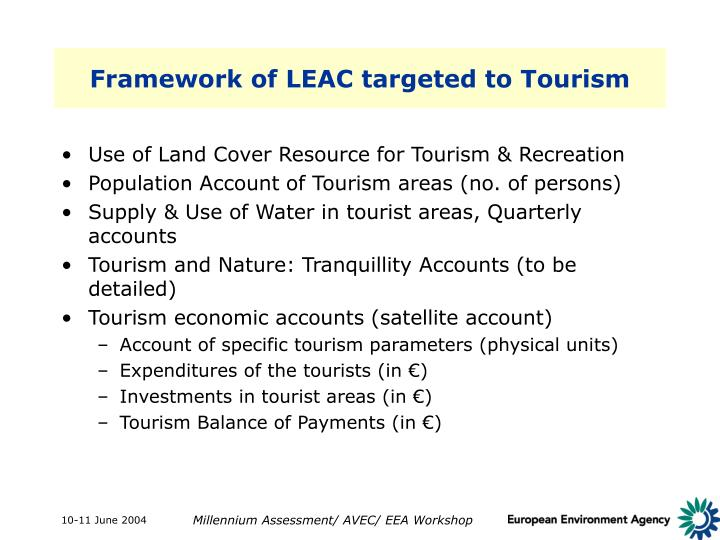Framework of LEAC targeted to Tourism