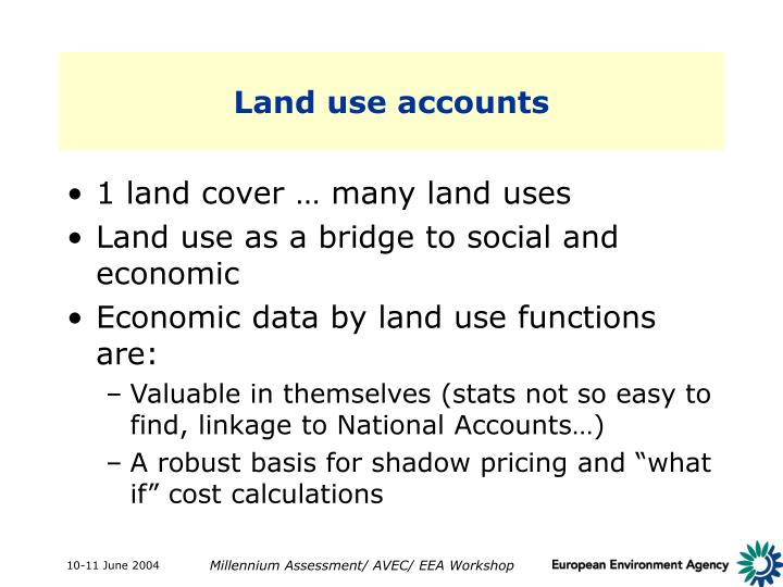 Land use accounts