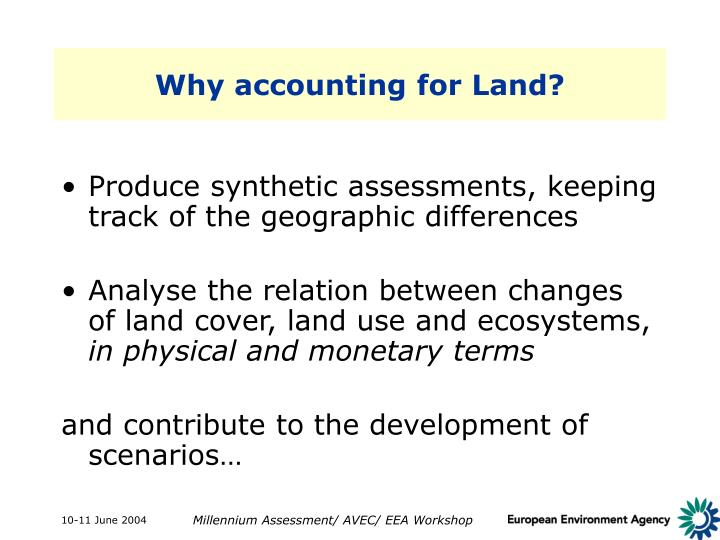 Why accounting for Land?