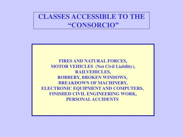 CLASSES ACCESSIBLE TO THE