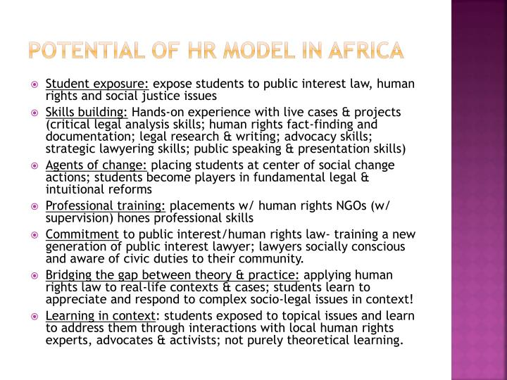 Potential of HR Model in Africa
